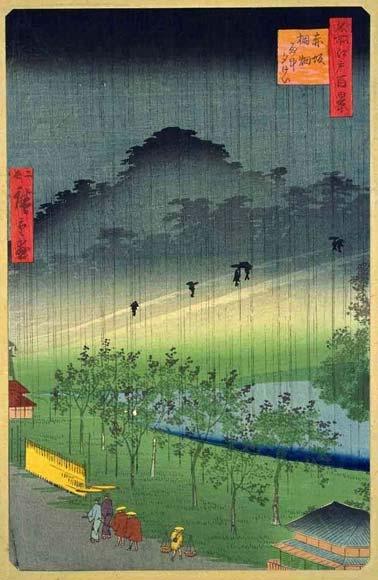 One Hundred Famous Views of Edo.  Paulownia Imperiales Trees at Akasaka on a Rainy Eveningのイメージ